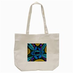 Star Polka Natural Blue Yellow Flower Floral Tote Bag (cream) by Mariart