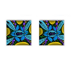Star Polka Natural Blue Yellow Flower Floral Cufflinks (square) by Mariart