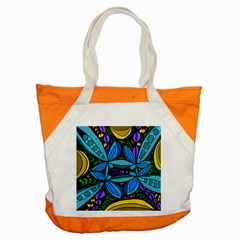 Star Polka Natural Blue Yellow Flower Floral Accent Tote Bag by Mariart