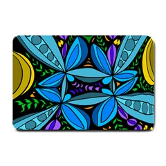 Star Polka Natural Blue Yellow Flower Floral Small Doormat  by Mariart