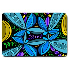 Star Polka Natural Blue Yellow Flower Floral Large Doormat  by Mariart