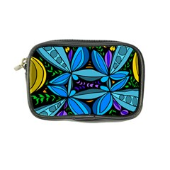 Star Polka Natural Blue Yellow Flower Floral Coin Purse by Mariart