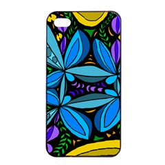 Star Polka Natural Blue Yellow Flower Floral Apple Iphone 4/4s Seamless Case (black) by Mariart