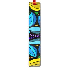 Star Polka Natural Blue Yellow Flower Floral Large Book Marks by Mariart