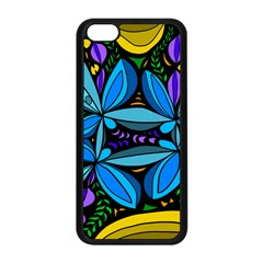 Star Polka Natural Blue Yellow Flower Floral Apple Iphone 5c Seamless Case (black) by Mariart