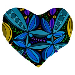 Star Polka Natural Blue Yellow Flower Floral Large 19  Premium Flano Heart Shape Cushions by Mariart