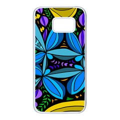 Star Polka Natural Blue Yellow Flower Floral Samsung Galaxy S7 White Seamless Case by Mariart