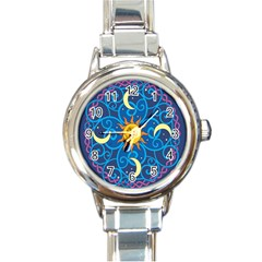 Sun Moon Star Space Vector Clipart Round Italian Charm Watch by Mariart