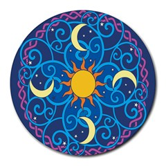 Sun Moon Star Space Vector Clipart Round Mousepads by Mariart