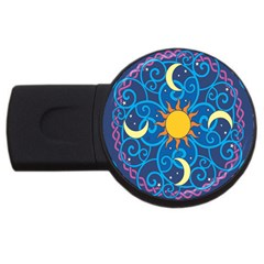 Sun Moon Star Space Vector Clipart Usb Flash Drive Round (2 Gb) by Mariart