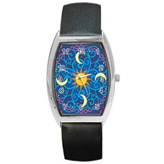 Sun Moon Star Space Vector Clipart Barrel Style Metal Watch by Mariart