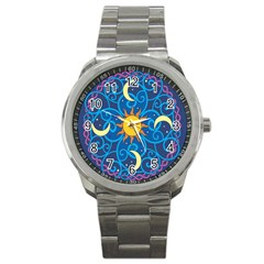Sun Moon Star Space Vector Clipart Sport Metal Watch by Mariart