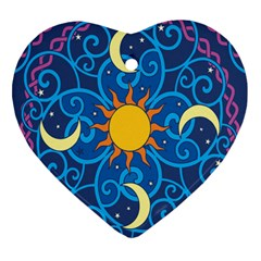 Sun Moon Star Space Vector Clipart Heart Ornament (two Sides) by Mariart
