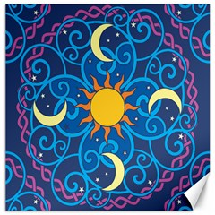 Sun Moon Star Space Vector Clipart Canvas 12  X 12   by Mariart
