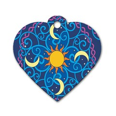 Sun Moon Star Space Vector Clipart Dog Tag Heart (two Sides) by Mariart