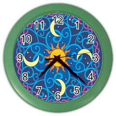 Sun Moon Star Space Vector Clipart Color Wall Clocks by Mariart