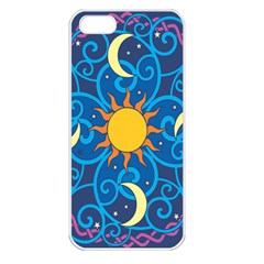 Sun Moon Star Space Vector Clipart Apple Iphone 5 Seamless Case (white) by Mariart