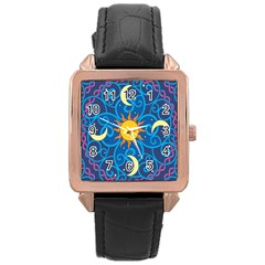 Sun Moon Star Space Vector Clipart Rose Gold Leather Watch  by Mariart