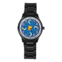 Sun Moon Star Space Vector Clipart Stainless Steel Round Watch by Mariart