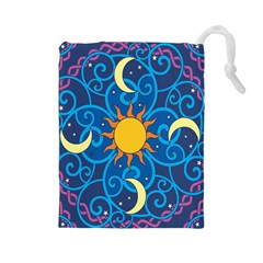 Sun Moon Star Space Vector Clipart Drawstring Pouches (large)  by Mariart