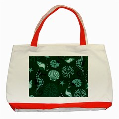 Vector Seamless Pattern With Sea Fauna Seaworld Classic Tote Bag (red) by Mariart