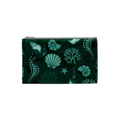 Vector Seamless Pattern With Sea Fauna Seaworld Cosmetic Bag (small)  by Mariart