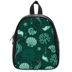 Vector Seamless Pattern With Sea Fauna Seaworld School Bag (small) by Mariart