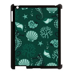 Vector Seamless Pattern With Sea Fauna Seaworld Apple Ipad 3/4 Case (black) by Mariart