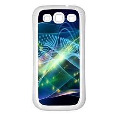 Waveslight Chevron Line Net Blue Samsung Galaxy S3 Back Case (white) by Mariart