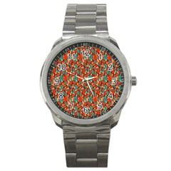 Surface Patterns Bright Flower Floral Sunflower Sport Metal Watch by Mariart