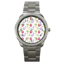 Vegetable Pattern Carrot Sport Metal Watch by Mariart