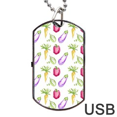 Vegetable Pattern Carrot Dog Tag Usb Flash (one Side) by Mariart