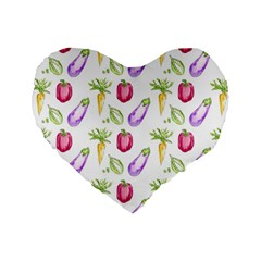 Vegetable Pattern Carrot Standard 16  Premium Flano Heart Shape Cushions by Mariart