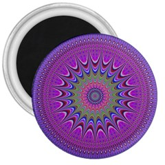 Art Mandala Design Ornament Flower 3  Magnets