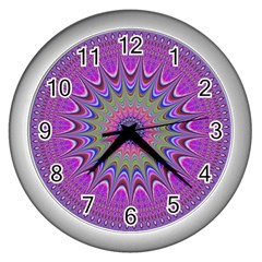 Art Mandala Design Ornament Flower Wall Clocks (silver)
