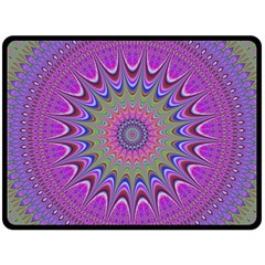 Art Mandala Design Ornament Flower Double Sided Fleece Blanket (large)