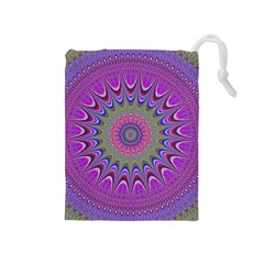 Art Mandala Design Ornament Flower Drawstring Pouches (medium)  by BangZart