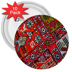 Carpet Orient Pattern 3  Buttons (10 Pack)