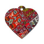 Carpet Orient Pattern Dog Tag Heart (Two Sides)