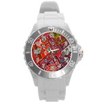 Carpet Orient Pattern Round Plastic Sport Watch (L)