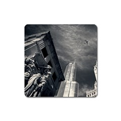 Chicago Skyline Tall Buildings Square Magnet by BangZart