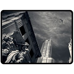 Chicago Skyline Tall Buildings Double Sided Fleece Blanket (large)  by BangZart
