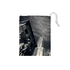 Chicago Skyline Tall Buildings Drawstring Pouches (small)