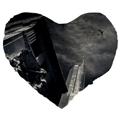 Chicago Skyline Tall Buildings Large 19  Premium Flano Heart Shape Cushions by BangZart