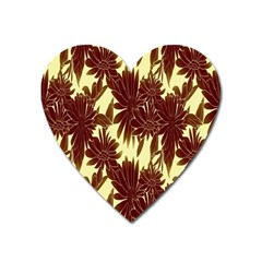 Floral Pattern Background Heart Magnet by BangZart