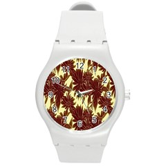Floral Pattern Background Round Plastic Sport Watch (m)