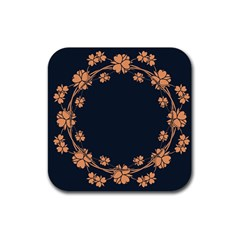 Floral Vintage Royal Frame Pattern Rubber Square Coaster (4 Pack)  by BangZart