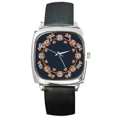 Floral Vintage Royal Frame Pattern Square Metal Watch