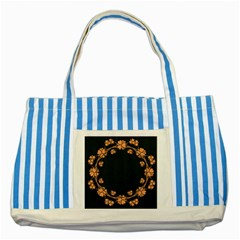 Floral Vintage Royal Frame Pattern Striped Blue Tote Bag
