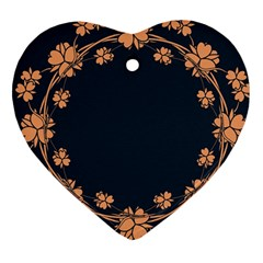 Floral Vintage Royal Frame Pattern Heart Ornament (two Sides) by BangZart
